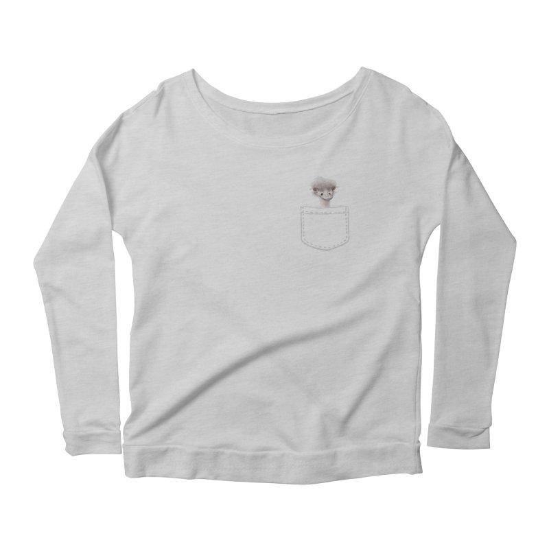 Ostrich in my Pocket Women's Scoop Neck Longsleeve T-Shirt by FashionedbyNature's Artist Shop