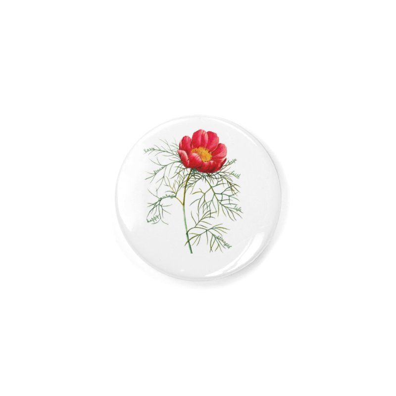 Inspirational Peony Accessories Button by FashionedbyNature's Artist Shop