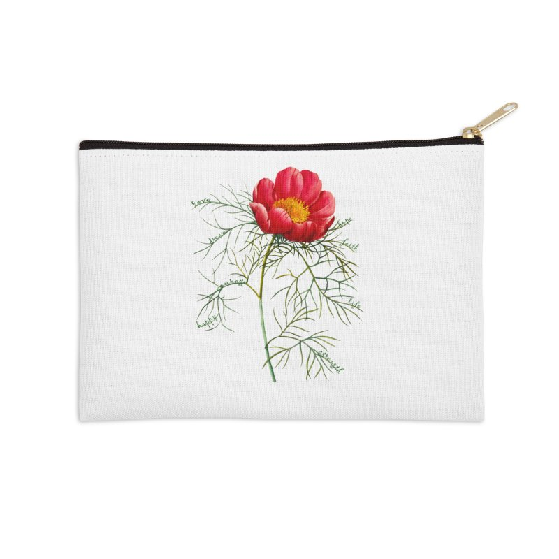 Inspirational Peony Accessories Zip Pouch by FashionedbyNature's Artist Shop