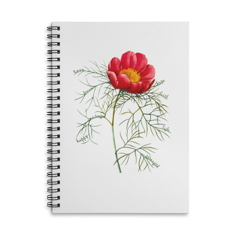 Inspirational Peony Accessories Lined Spiral Notebook by FashionedbyNature's Artist Shop