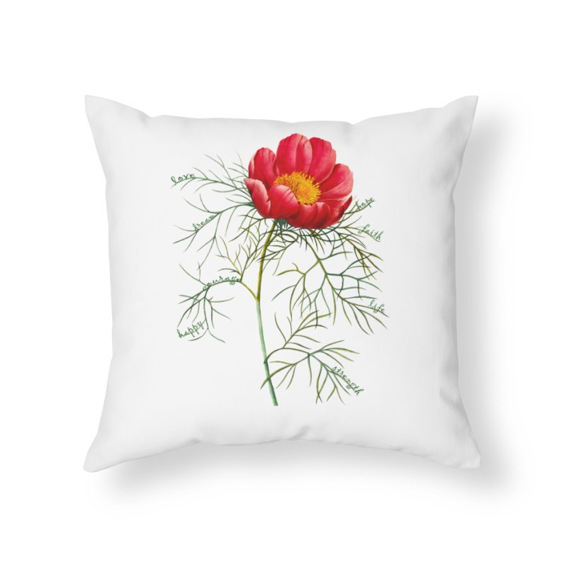 Inspirational Peony Home Throw Pillow by FashionedbyNature's Artist Shop