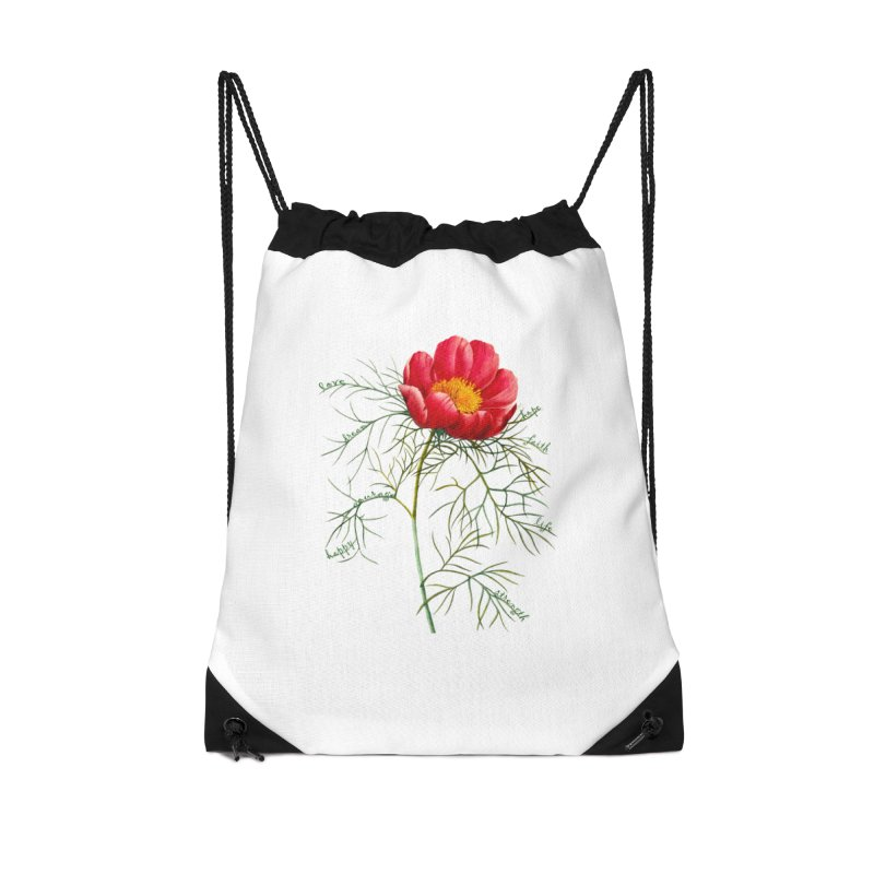 Inspirational Peony Accessories Drawstring Bag Bag by FashionedbyNature's Artist Shop