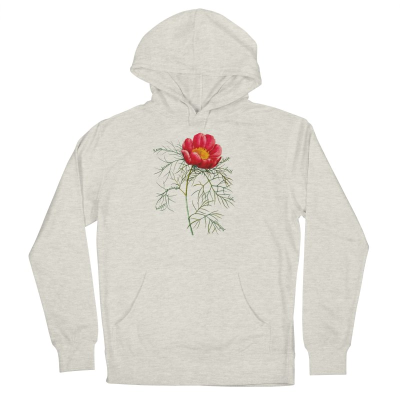 Inspirational Peony Women's French Terry Pullover Hoody by FashionedbyNature's Artist Shop