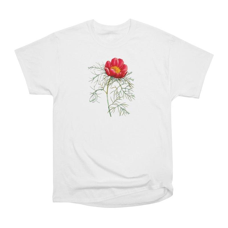 Inspirational Peony Women's Heavyweight Unisex T-Shirt by FashionedbyNature's Artist Shop