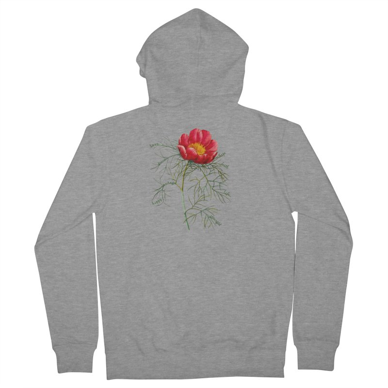 Inspirational Peony Women's French Terry Zip-Up Hoody by FashionedbyNature's Artist Shop