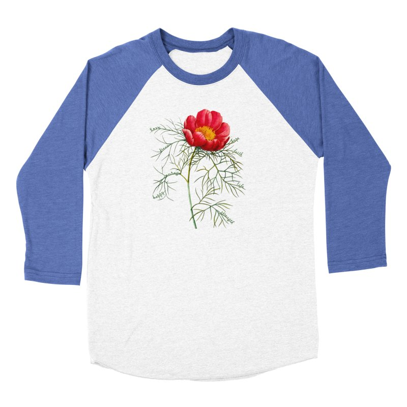 Inspirational Peony Women's Baseball Triblend Longsleeve T-Shirt by FashionedbyNature's Artist Shop