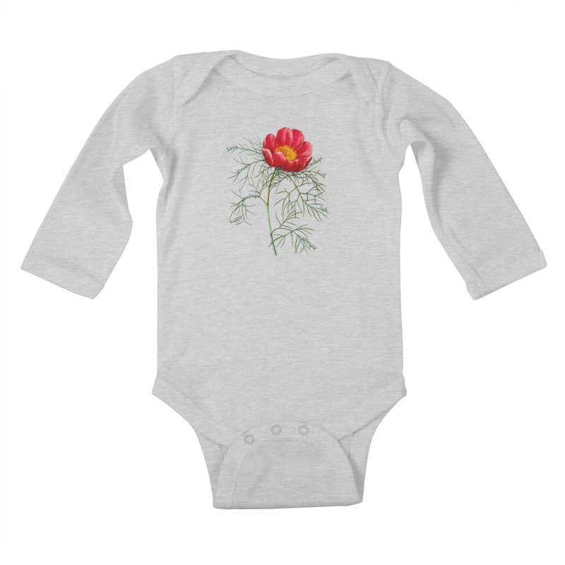 Inspirational Peony Kids Baby Longsleeve Bodysuit by FashionedbyNature's Artist Shop
