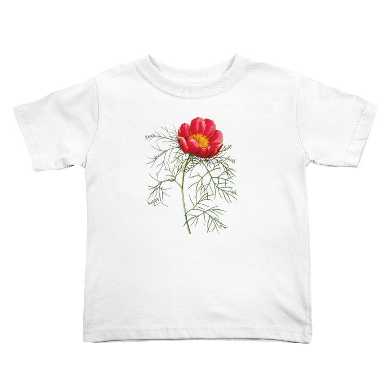 Inspirational Peony Kids Toddler T-Shirt by FashionedbyNature's Artist Shop