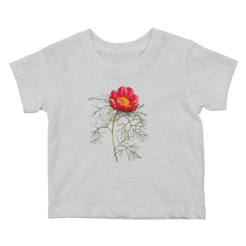 Inspirational Peony Kids Baby T-Shirt by FashionedbyNature's Artist Shop