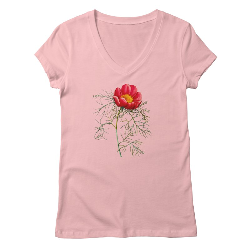 Inspirational Peony Women's V-Neck by All Fashioned by Nature Artist Shop