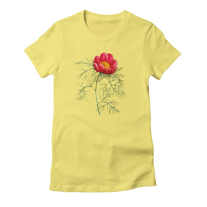 Inspirational Peony Women's T-Shirt by All Fashioned by Nature Artist Shop