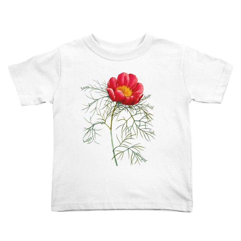 Inspirational Peony Kids Toddler T-Shirt by All Fashioned by Nature Artist Shop