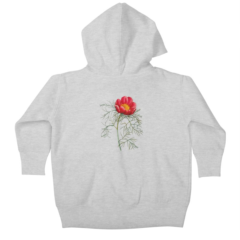 Inspirational Peony Kids Baby Zip-Up Hoody by FashionedbyNature's Artist Shop