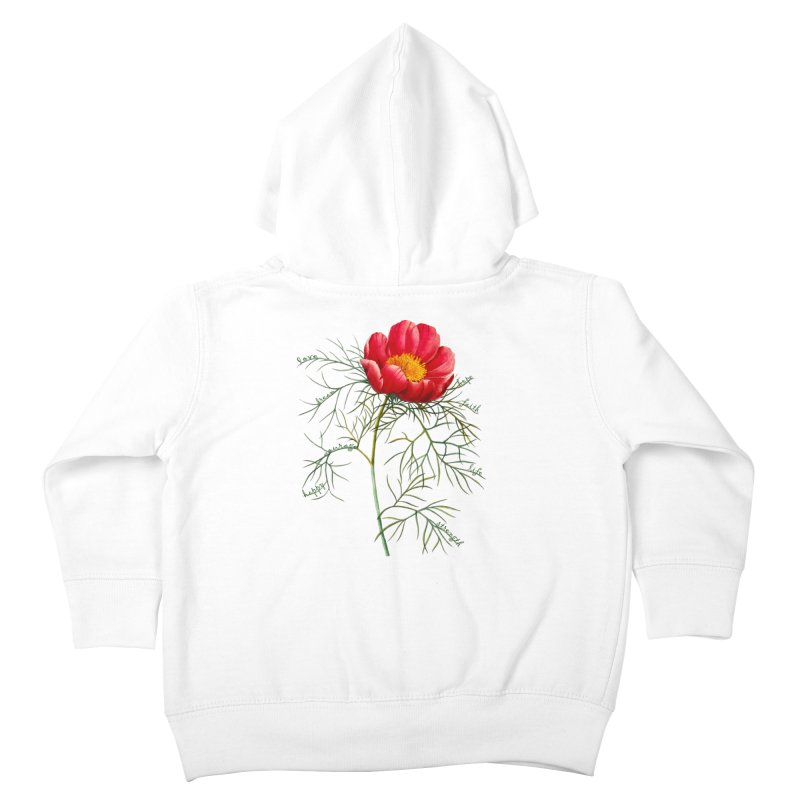 Inspirational Peony Kids Toddler Zip-Up Hoody by FashionedbyNature's Artist Shop