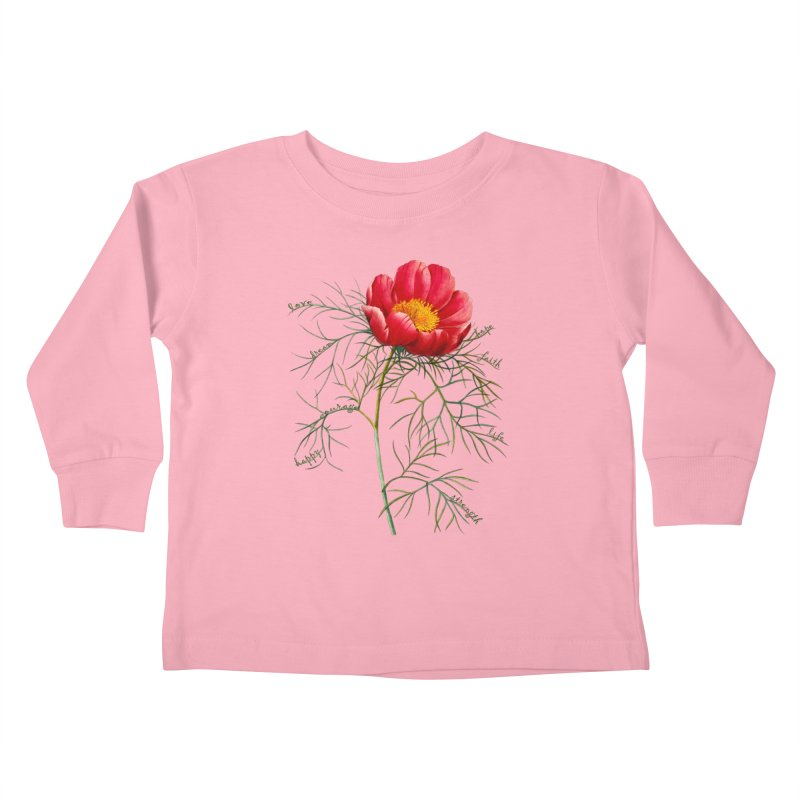 Inspirational Peony Kids Toddler Longsleeve T-Shirt by FashionedbyNature's Artist Shop