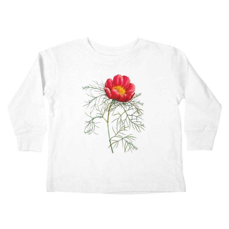 Inspirational Peony Kids Toddler Longsleeve T-Shirt by FashionedbyNature's Artist Shop