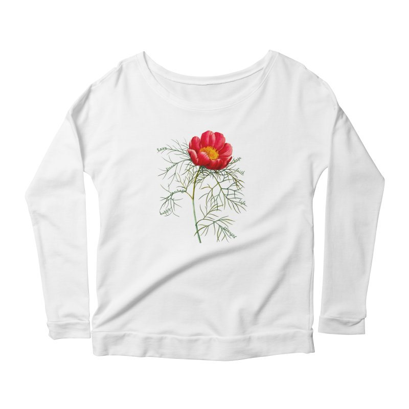 Inspirational Peony Women's Scoop Neck Longsleeve T-Shirt by FashionedbyNature's Artist Shop