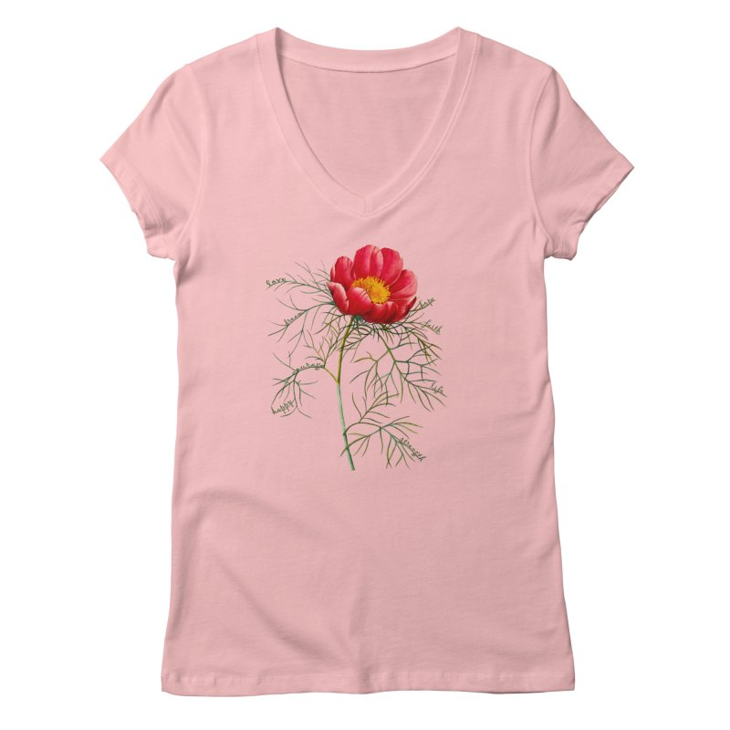 Inspirational Peony Women's Regular V-Neck by FashionedbyNature's Artist Shop