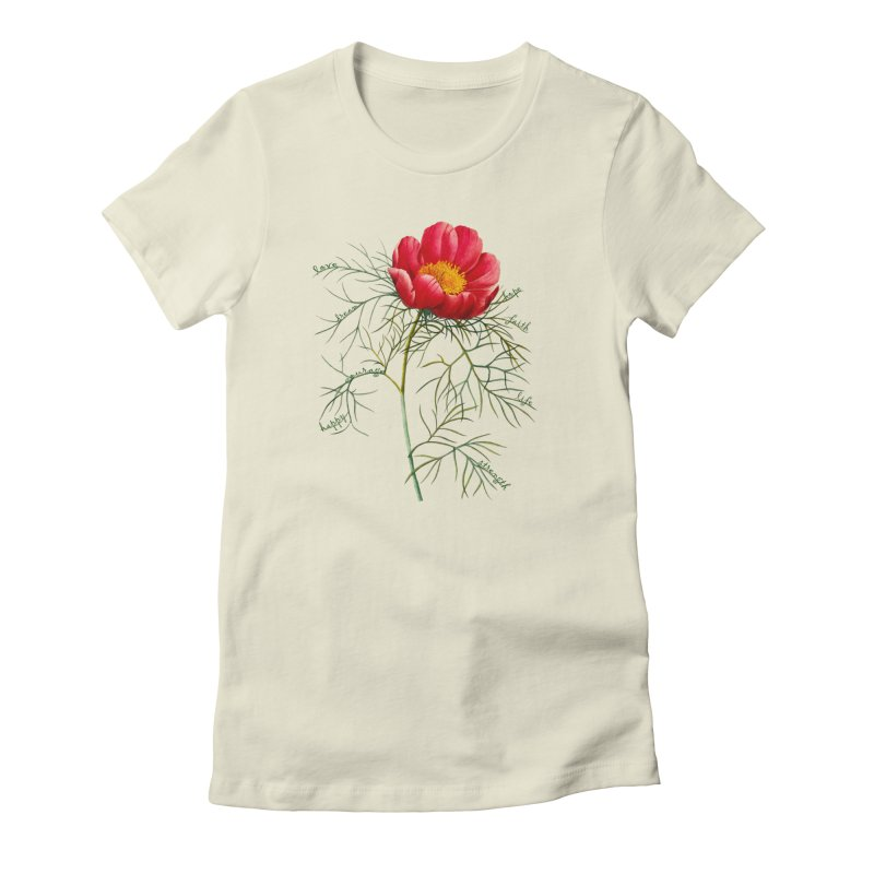 Inspirational Peony Women's Fitted T-Shirt by FashionedbyNature's Artist Shop