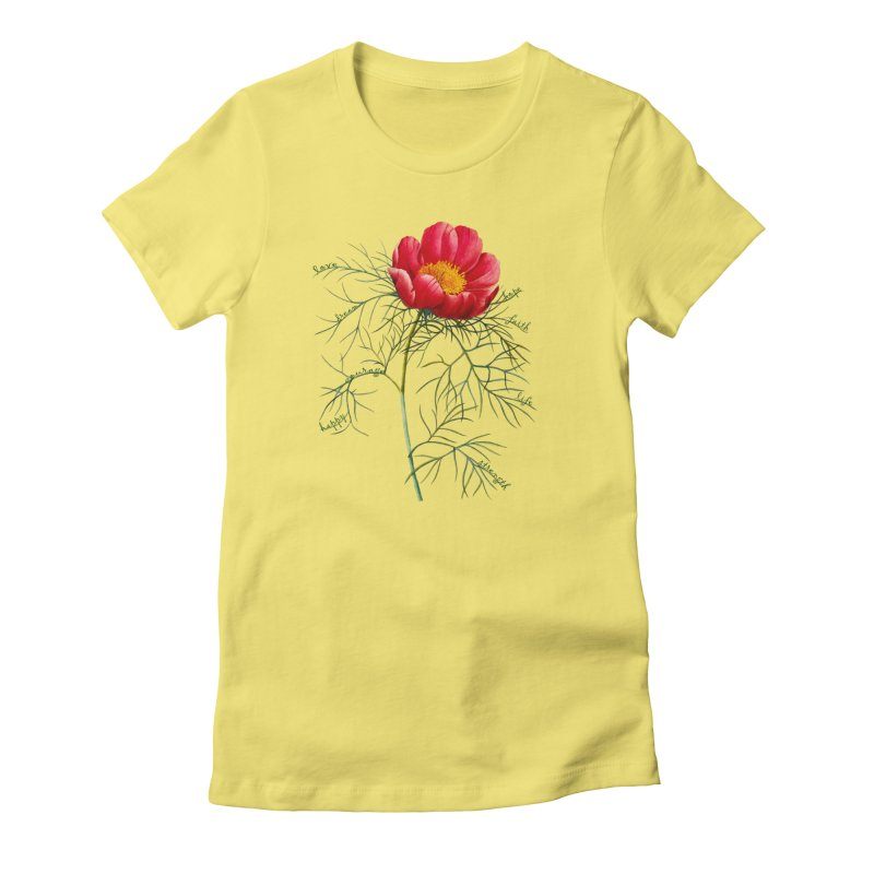 Inspirational Peony Women's T-Shirt by FashionedbyNature's Artist Shop