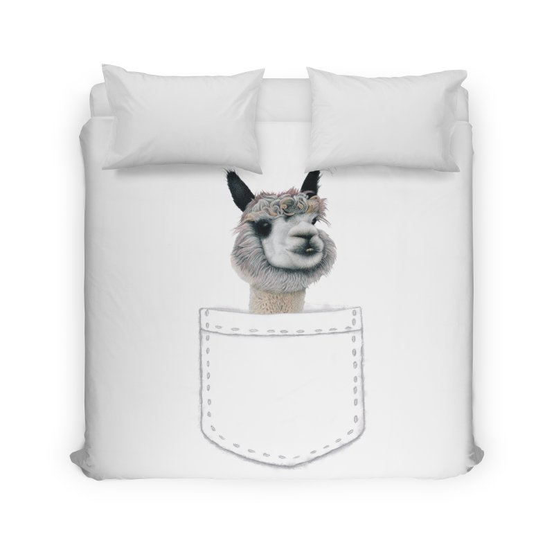 Alpaca In My Pocket Home Duvet by All Fashioned by Nature Artist Shop