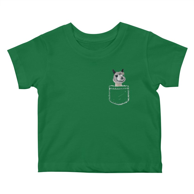 Alpaca In My Pocket Kids Baby T-Shirt by All Fashioned by Nature Artist Shop