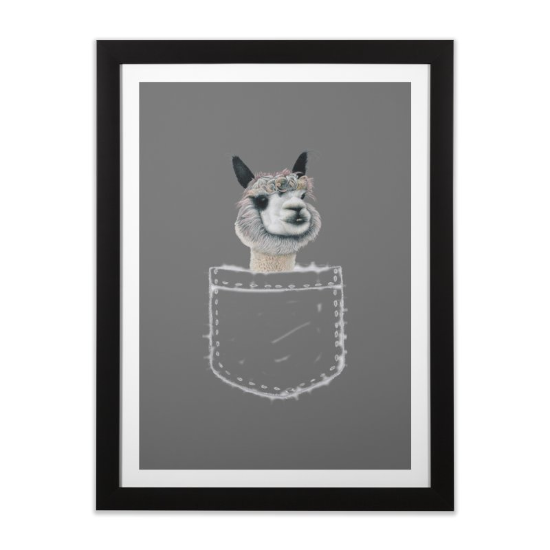 Alpaca In My Pocket Home Framed Fine Art Print by All Fashioned by Nature Artist Shop