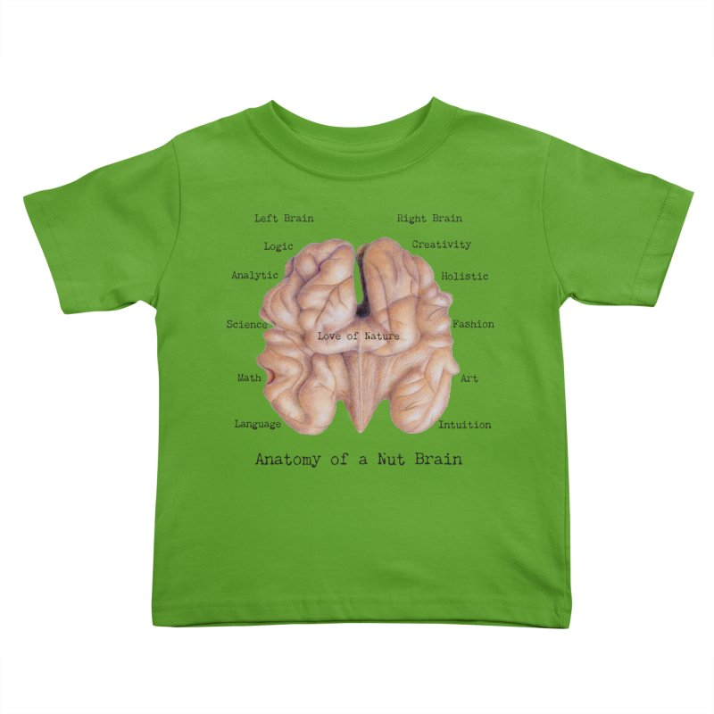 Anatomy of a Nut Brain Kids Toddler T-Shirt by All Fashioned by Nature Artist Shop