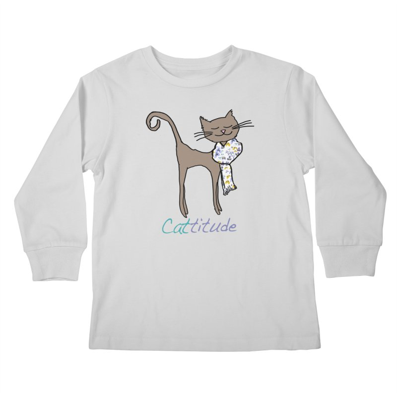 Cattitude Kids Longsleeve T-Shirt by All Fashioned by Nature Artist Shop