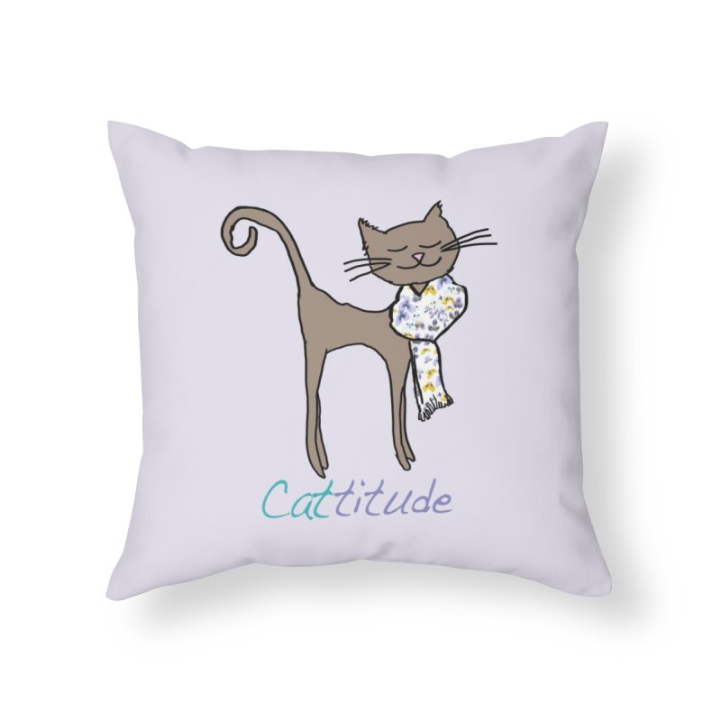 Cattitude Home Throw Pillow by All Fashioned by Nature Artist Shop