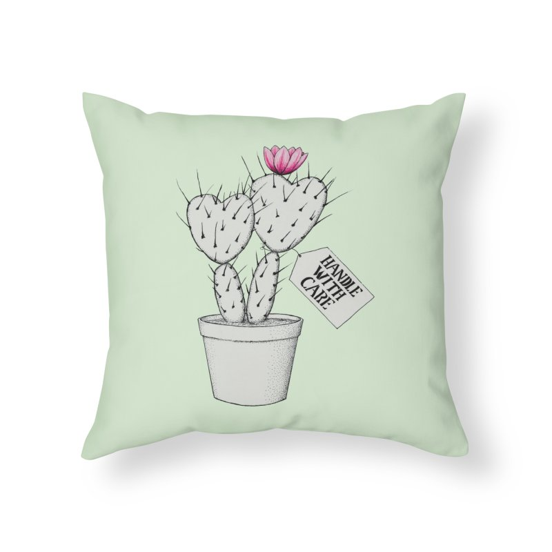 Handle With Care Home Throw Pillow by All Fashioned by Nature Artist Shop