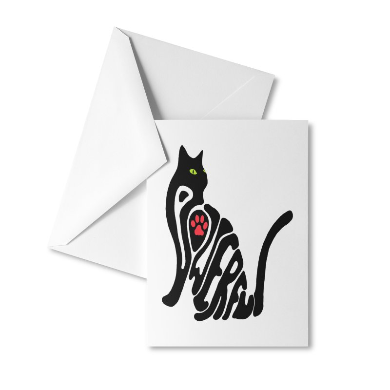 Cat Power Accessories Greeting Card by All Fashioned by Nature Artist Shop