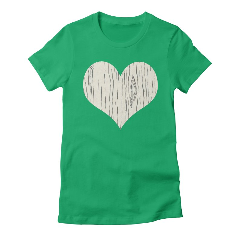 Heart of Birch Women's Fitted T-Shirt by FashionedbyNature's Artist Shop