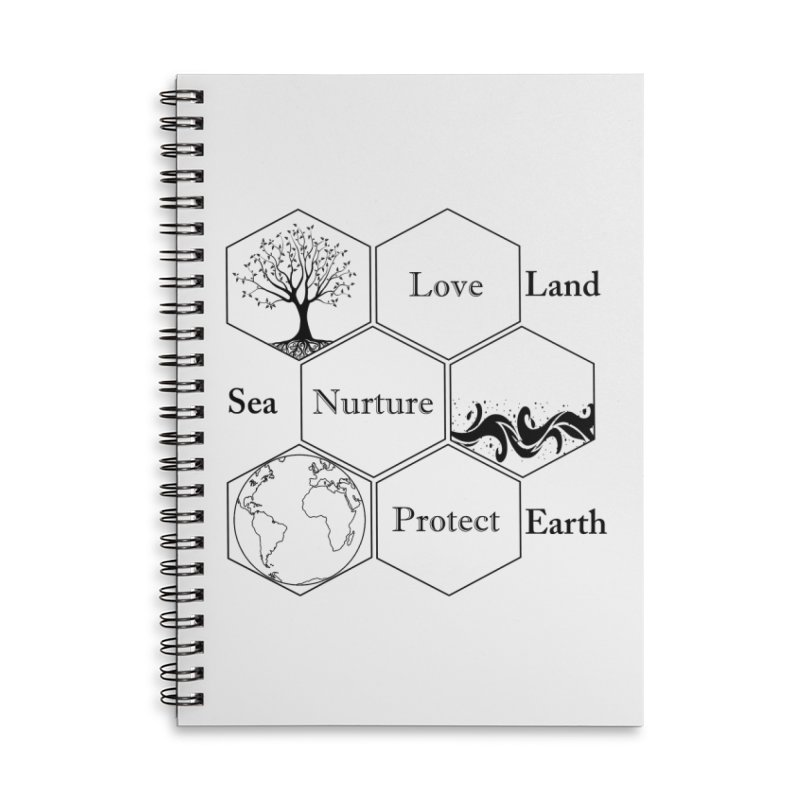 Land Sea Earth Accessories Lined Spiral Notebook by FashionedbyNature's Artist Shop