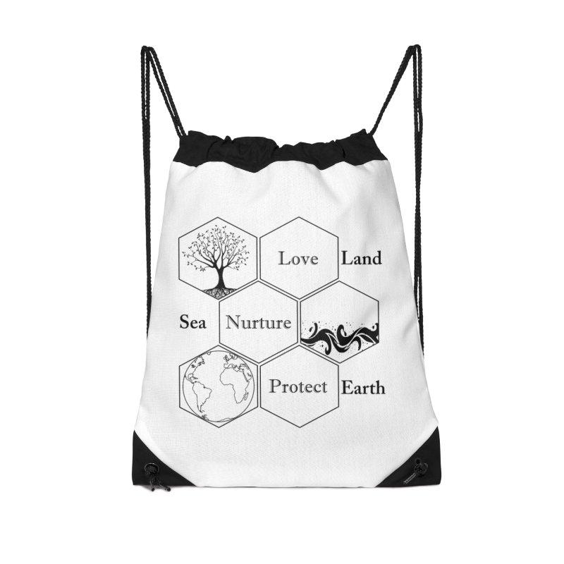 Land Sea Earth Accessories Drawstring Bag Bag by FashionedbyNature's Artist Shop