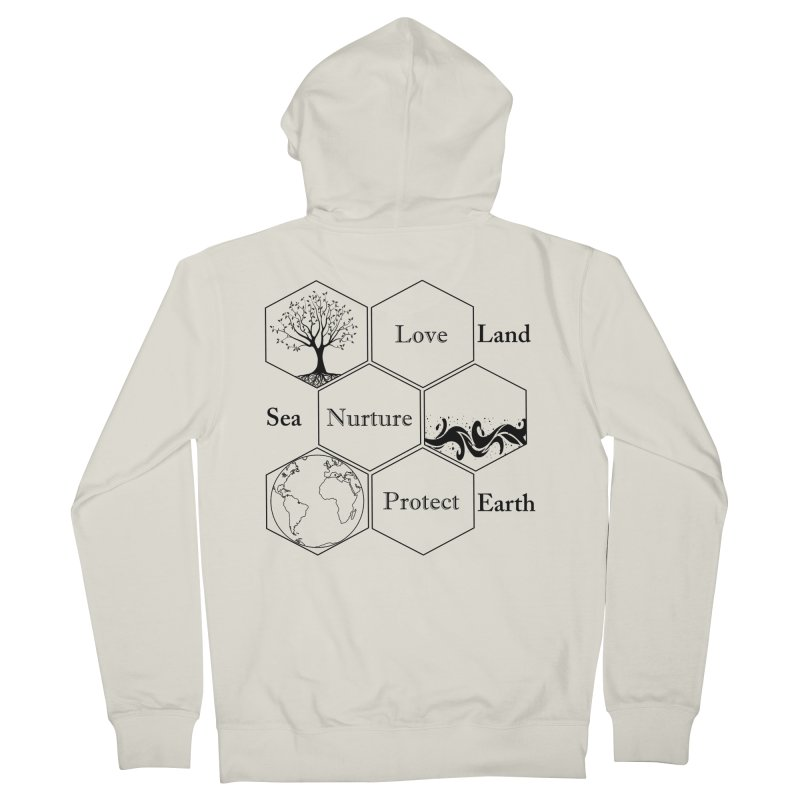 Land Sea Earth Women's French Terry Zip-Up Hoody by FashionedbyNature's Artist Shop