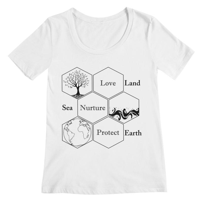 Land Sea Earth Women's Regular Scoop Neck by FashionedbyNature's Artist Shop