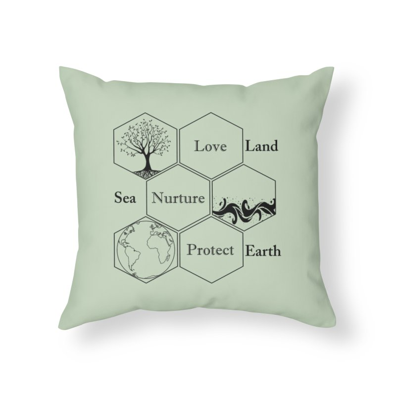 Land Sea Earth Home Throw Pillow by FashionedbyNature's Artist Shop