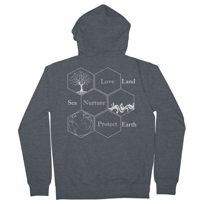 Land Sea Earth WL Men's French Terry Zip-Up Hoody by FashionedbyNature's Artist Shop