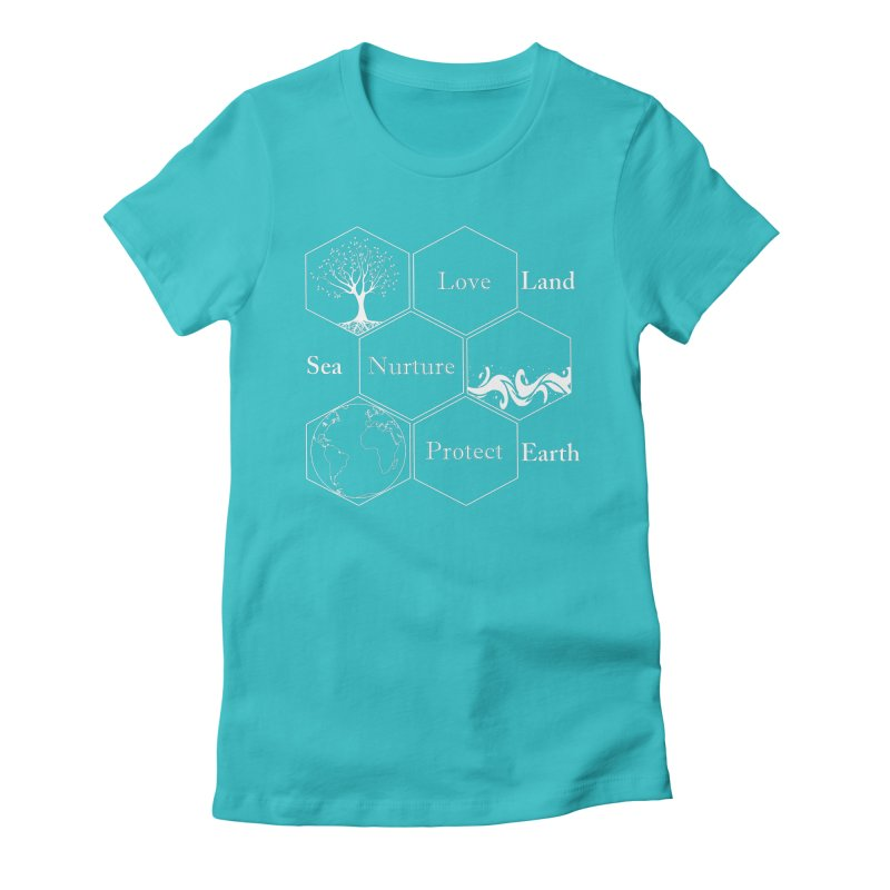 Land Sea Earth WL Women's Fitted T-Shirt by FashionedbyNature's Artist Shop