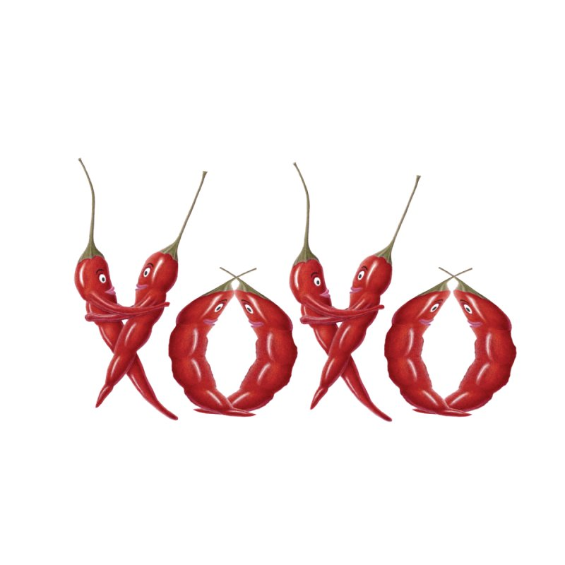 XOXO Chilies Home Throw Pillow by All Fashioned by Nature Artist Shop