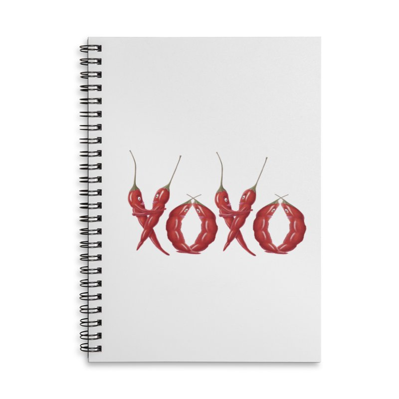 XOXO Chilies Accessories Lined Spiral Notebook by FashionedbyNature's Artist Shop