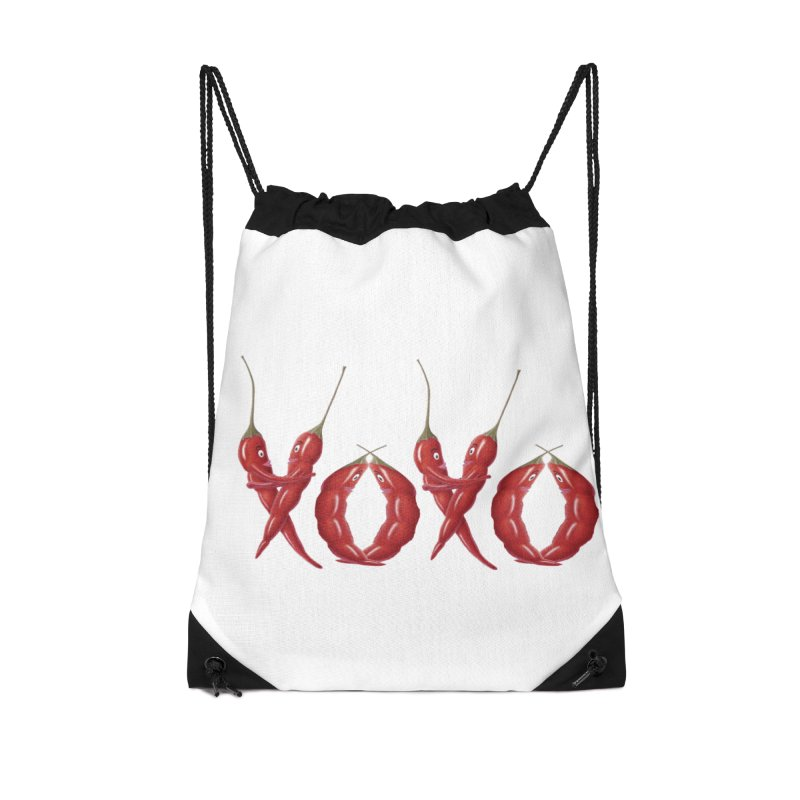 XOXO Chilies Accessories Drawstring Bag Bag by FashionedbyNature's Artist Shop