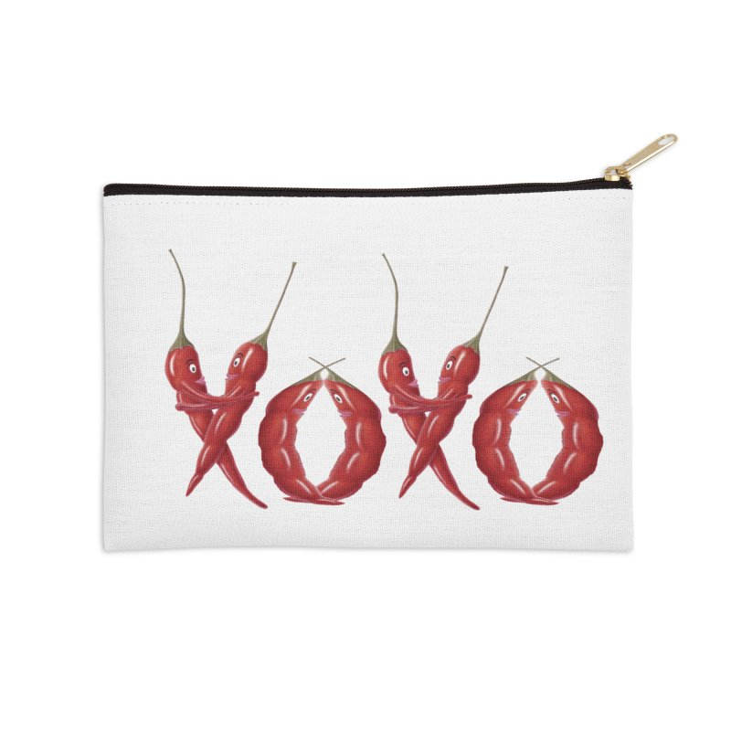 XOXO Chilies Accessories Zip Pouch by FashionedbyNature's Artist Shop