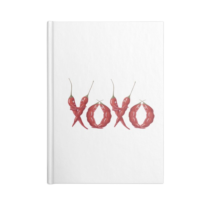 XOXO Chilies Accessories Lined Journal Notebook by FashionedbyNature's Artist Shop