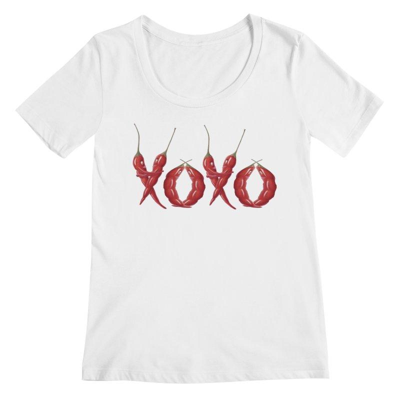 XOXO Chilies Women's Regular Scoop Neck by FashionedbyNature's Artist Shop