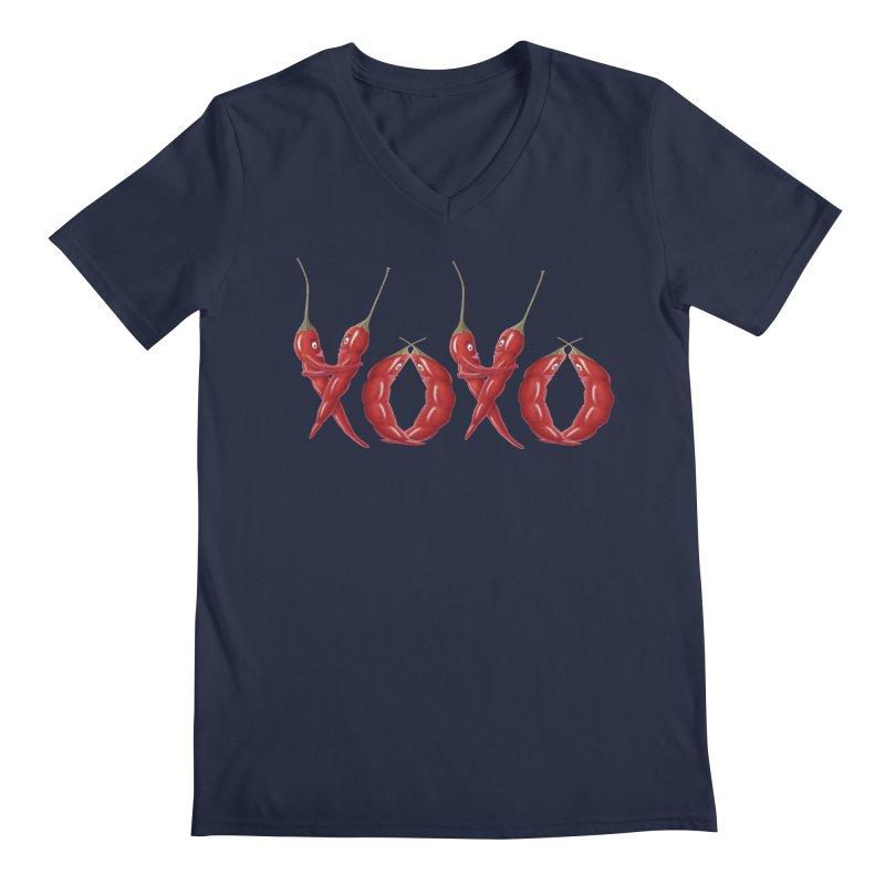 XOXO Chilies Men's Regular V-Neck by FashionedbyNature's Artist Shop
