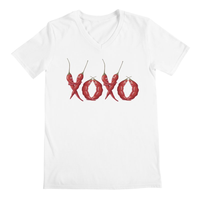 XOXO Chilies Men's V-Neck by All Fashioned by Nature Artist Shop