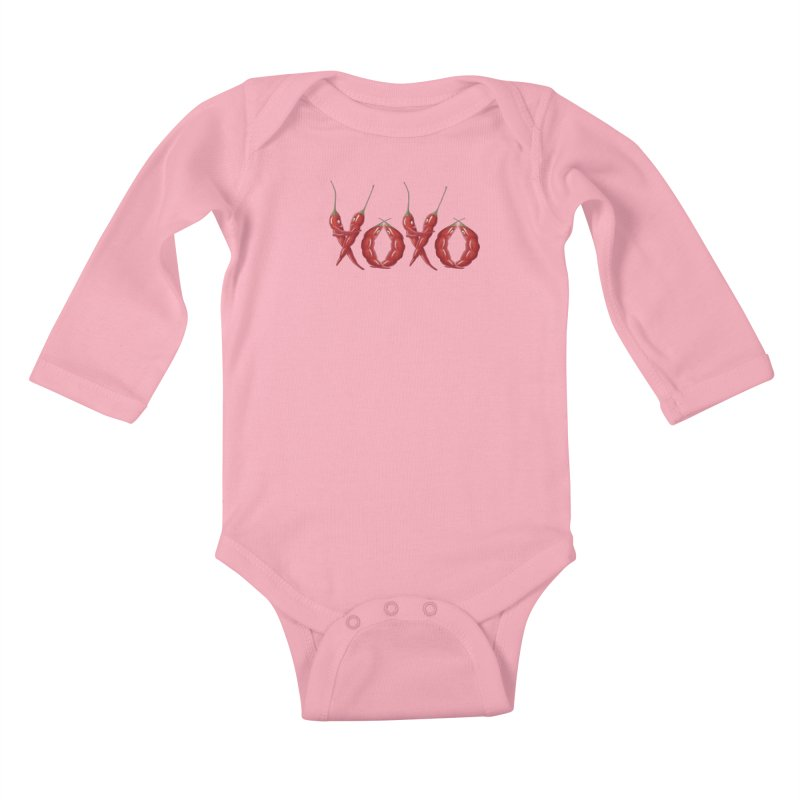 XOXO Chilies Kids Baby Longsleeve Bodysuit by FashionedbyNature's Artist Shop
