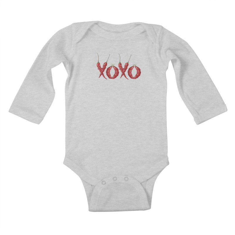 XOXO Chilies Kids Baby Longsleeve Bodysuit by FashionedbyNature's Artist Shop